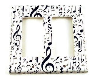 Music Note Light Switch Cover Wall Decor  Black and White Switch Plate Double Rocker in High Note  (104DR)