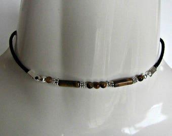 Tiger Eye Choker, Beaded Choker Necklace, Browns, Body Jewelry, Gemstone, BOHO Choker Necklace, MInimalist, Bohemian, #1275