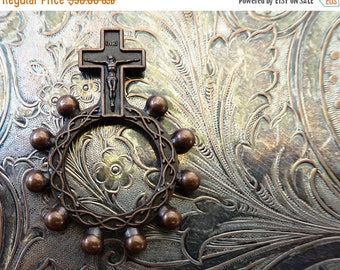 ON SALE World War II Era Italian Prayer Rosary Ring With Copper Crucifix & Crown Of Thorns, The Passion Of Jesus Christ, Military Surplus