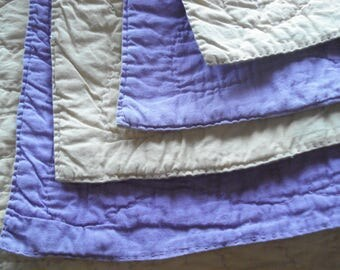 """Antique Vintage Hand Quilted Whole Cloth Quilt - Yellow & Purple - 69"""" L x 68"""" W"""