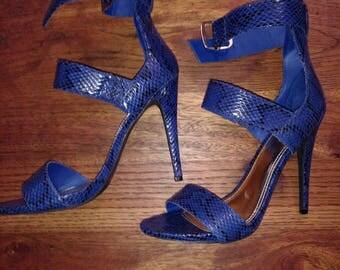 "Dark Royal Blue Faux Snake Skin High 5"" Heel Strap Shoes Size 10"