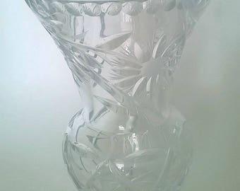 Vintage Lead Crystal Cut Glass Vase