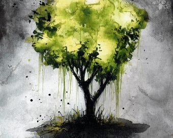 Landscape painting 8x12in, 21x30cm, A4 - canvas sheet - abstract green tree art 14
