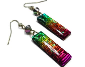 Dichroic Crystal Earrings- polymer clay jewelry- Resin earrings- Ready to Ship- Gifts for Mom Birthday Anniversary