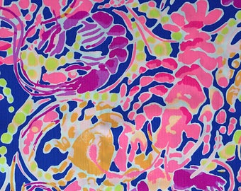 Dog Leash made with Lilly Pulitzer fabric - Pink and Blue Small/Large Sizes All Breeds Summer 2017 - 'Catch and Release'