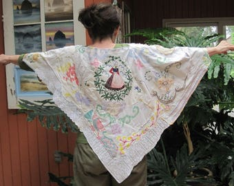 embroidery tablecloth Shawl Cape Poncho alternative wedding Vintage & Antique Linens Eclectic ARTISAN Wearable Folk Art COLLAGE  -  my Bonny