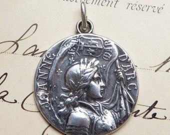 ON SALE Sterling St Joan of Arc Battle Flag Medal - Patron of strong women - Antique Reproduction