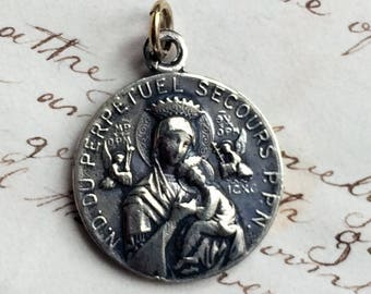 Antique Our Lady of Perpetual Help / Sacred Heart of Jesus Medal