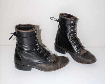 1970s western lace up boots 70s boho black + brown leather Justin roper laredo  lace up riding boots size 7.5