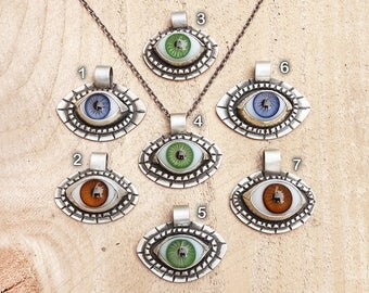 Glass eye necklace, evil eye necklace, sterling silver eye gift for her, medical jewelry eyeball necklace protection blue eye green eye