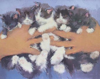 kittens painting fine art print, cat art print, cat lovers gift, cat wall art, contemporary art, figurative painting by Michelle Farro