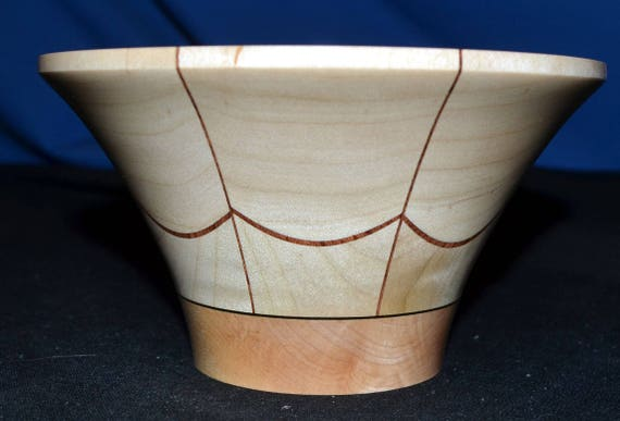 "Segmented Woodturning Wood Turned Bowl – ""Velvet Trap"" – Birch and Maple with Veneers"