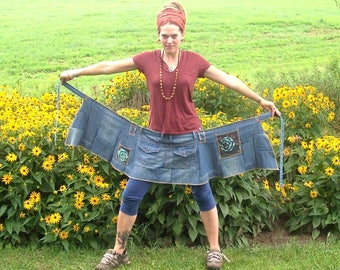 Ramble on Rose ~ Organic Cotton Denim and Hemp ~ Ecofriendly Gypsy Patchwork Hippie Mini Wrap Around Skirt with Pockets