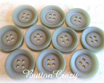10 Sage Green VINTAGE Wood Buttons 3/4 Inch