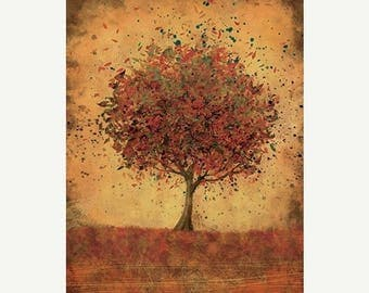 50% Off Summer Sale - Autumn Tree Modern Wall Art - Welcome Change (burnt orange) - 24x36 LARGE Home Decor Print
