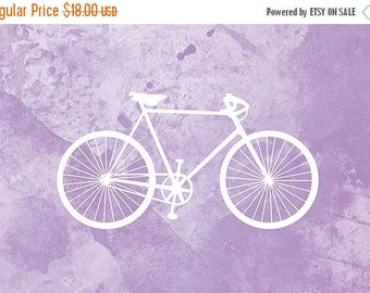 50% Off Summer Sale - Bicycle Artwork - (purple and white) - 8x10 Print