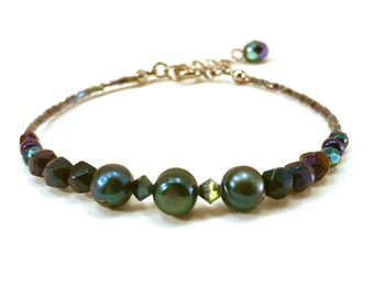 Teal iridescent pearl bracelet with swarovski accents, mermaid colors, peacock colors