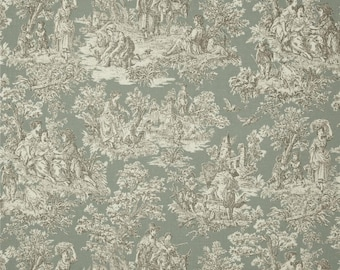 Toile Drapery Panels - Pair/ 2 Panels - Rustic Life Bliss Toile Fabric
