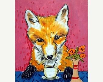 20 % off storewide Fox , fox art, fox print, coffee cafe animals impressionism art  print