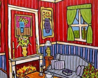20 % off storewide The Fireplace Art Print Interior Design 11x14
