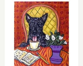 20% off storewide Scottish Terrier at the Coffee Shop Dog Art Print