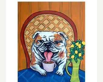 20% off storewide 11x14 bulldog print,bulldog art, dog, dog art, voffee, coffee art, gift, modern folk art, print from painting