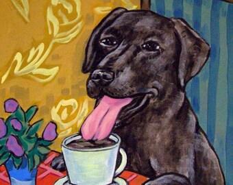 20% off Black Lab Labrador retriever at the cafe coffee shop signed dog art print
