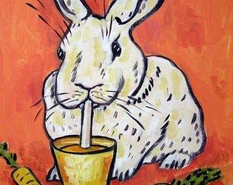 20% off Bunny Drinking Carrot Juice Rabbit Art Tile