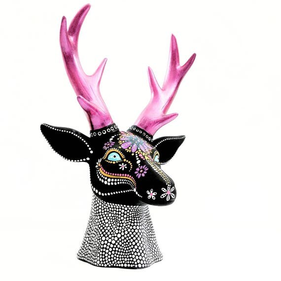 Hand painted Deer head with antlers ceramic deer