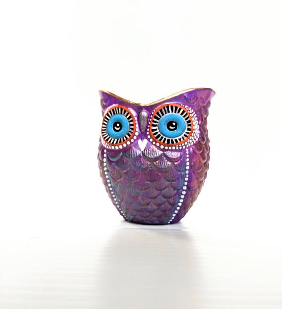 Purple hand painted Owl shaped votive candle holder