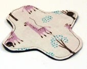 """6"""" Reusable Cloth winged ULTRATHIN Pantyliner - Cotton flannel top - Giraffes"""
