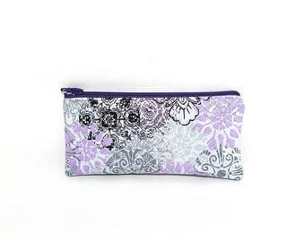 Summer Clearance Pocket Zipper Case, Change Purse, Card Case, Coin Purse, Light Purple and Black Flowers on Gray 8734