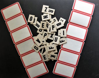 Embellishments Bonanza - 12 Vintage Dennison Gummed Labels PLUS 40 Heavy Duty Antique Anagram Letters