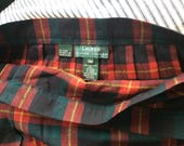 VINTAGE SKIRT KILT, wool plaid, Ralph Lauren, womens 18w, gorgeous color, unisex, fringe
