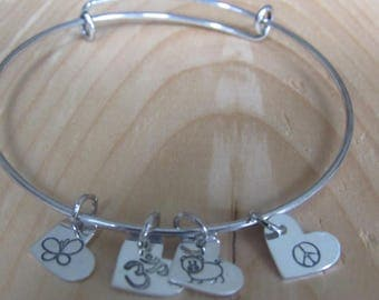 Personalize your own charm bracelet sterling silver hearts adjustable bangle bracelet - names, dates, words, and