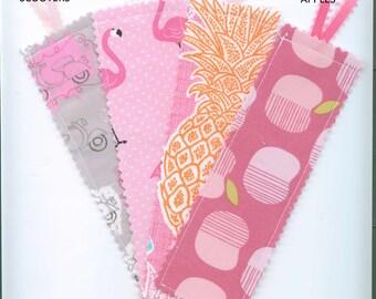 Handmade Fabric Bookmark, Set of 4, PINKS,  Book Accessory, Teacher Gift. Small Gift, Bookmark w/Ribbon, Stocking  Stuffer