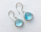 Light Blue Faceted Silver Earrings