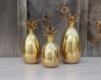 Brass Pineapple Candleholders (Set of 3)