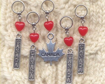 Love Canada Knitting Stitch Markers Heart Canadian Canuck Set of 5 /SM38B