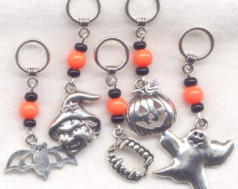 Halloween Knitting Stitch Markers Jackolantern Witch Ghost Set of 5 /SM70F