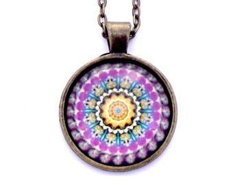 "Purple Mandala Photo Glass Necklace 30"" Antiqued Bronze Chain"
