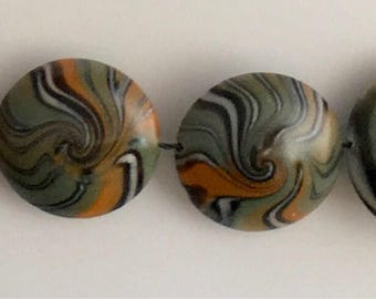 Polymer Clay Lentil Bead Set  # L-19