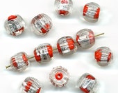 Vintage Foil Beads 12mm Red & Silver Melon Shape Glass 12 Pcs. Made in Japan