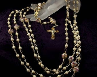 Lazo Wedding Rosary Custom Made to Order Lasso White Wedding Cake Lampwork Beads Miraculous Medal Gold Finished Lead Free Pewter Unbreakable