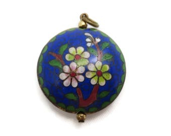 Cloisonne Necklace Pendant - Chinese Enamel Blue Green Flowers Puffy Asian Jewelry