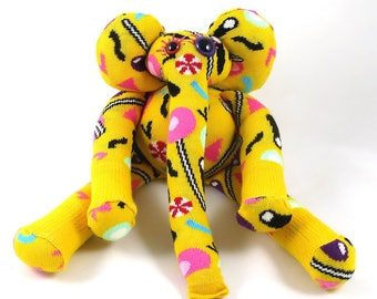 Sock Elephant GIDEON, yellow, colourful, rainbow, happy socks, handmade, rattle, soft toy plush with in candies, lollies & sweets.