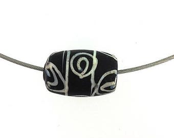 OnSale Lamp Work Black Squiggle Bead Rare and Subtle.