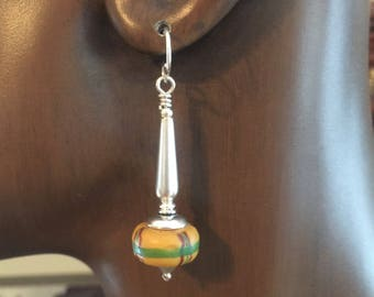 African Trade Bead Earrings Yellow Glass and Sterling Silver