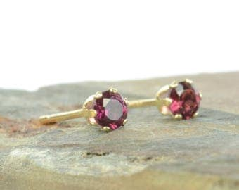Rhodolite garnet earrings, 9 carat gold and rhodolite garnet studs, 3mm, raspberry red, pink gemstone earrings, June birthstone earrings