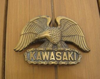 Vintage Kawasaki Solid Brass Baron Belt Buckle